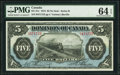Canadian Currency, DC-21c $5 1.5.1912 PMG Choice Uncirculated 64 EPQ.. ...