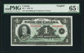 Canadian Currency, BC-1 $1 1935 PMG Gem Uncirculated 65 EPQ.. ...