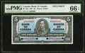 Canadian Currency, BC-23S $5 2.1.1937 Specimen PMG Gem Uncirculated 66 EPQ.. ...