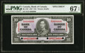 Canadian Currency, BC-24S $10 2.1.1937 Specimen PMG Superb Gem Unc 67 EPQ.. ...