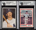 Autographs:Sports Cards, 1982 Multi-Brand Mickey Mantle Signed GAI Authentic Trio of Cards....
