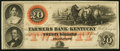 Obsoletes By State:Kentucky, Frankfort, KY- Farmers Bank of Kentucky $20 18__ Remainder About Uncirculated.. ...