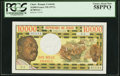 World Currency, Chad Banque Centrale 10,000 Francs ND (1971) Pick 1 PCGS Choice About New 58PPQ.. ...