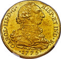 Colombia, Colombia: Charles III gold 8 Escudos 1775 NR-JJ MS62 NGC,...