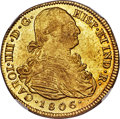 Colombia, Colombia: Charles IV gold 8 Escudos 1806/5 P-JF MS62 NGC,...