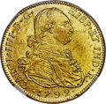Colombia, Colombia: Charles IV gold 8 Escudos 1792 NR-JJ MS62 NGC,...