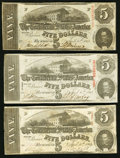 Confederate Notes:1863 Issues, T60 $5 1863 PF-4; -21; -27 Cr. 450; 459; 464 Fine-Very Fine.. ...(Total: 3 notes)
