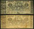 Obsoletes By State:Arkansas, (Little Rock), AR- State of Arkansas $5 (2) 1862-63 Cr. 52A; 52B Very Good or better.. ... (Total: 2 notes)