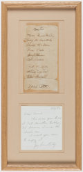 Autographs:Letters, 1942 New York Giants Multi-Signed Framed Sheet with Mel Ott (10 Signatures)....