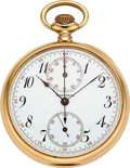 Timepieces:Pocket (post 1900), Longines Gold Chronograph With Minute Register. ...