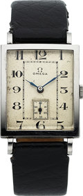 Timepieces:Wristwatch, Omega, Classic Tank, Stainless Steel, Manual Wind, Circa 1944. ...