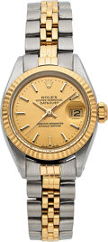 Timepieces:Wristwatch, Rolex, Very Fine Ladies Oyster Perpetual Datejust, Stainless Steel and 18K Yellow Gold, Ref. 6917, Circa 1977. ...