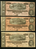 Confederate Notes:1864 Issues, T68 $10 1864 PF-31; -38 (2) Cr. 549; 550 (2) Very Fine.. ... (Total: 3 notes)