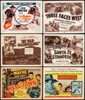 "Movie Posters:Western, Hell Town & Others Lot (Favorite Films, R-1950). Fine/Very Fine. Title Lobby Cards (6) (11"" X 14""). Hell Town is the rei... (Total: 6 Items)"