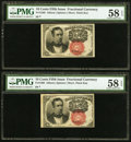 Fractional Currency:Fifth Issue, Fr. 1266 10¢ Fifth Issue Two Examples PMG Choice About Unc 58 EPQ..... (Total: 2 notes)