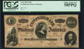Confederate Notes:1864 Issues, T65 $100 1864 PF-2 Cr. 493 PCGS Choice About New 58PPQ.. ...