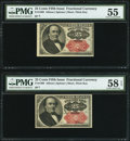 Fractional Currency:Fifth Issue, Fr. 1309 25¢ Fifth Issue Two Examples PMG About Uncirculated 55 orbetter.. ... (Total: 2 notes)