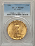 Saint-Gaudens Double Eagles: , 1908 $20 No Motto MS65+ PCGS. PCGS Population: (25501/9945 and 747/245+). NGC Census: (10546/4838 and 85/113+). MS65. Minta...