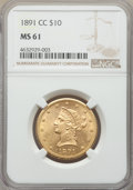 Liberty Eagles, 1891-CC/CC $10 FS-501 MS61 NGC. Variety 4-C....