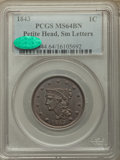Large Cents, 1843 1C Petite Head, Small Letters, N-2, N-7, R.1, MS64 Brown PCGS. CAC....