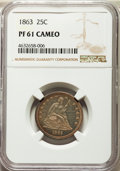 1863 25C PR61 Cameo NGC. NGC Census: (2/29). PCGS Population: (0/38). PR61. Mintage 460. From The Janis Ian Collectio...
