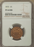 Proof Two Cent Pieces: , 1872 2C PR64 Red and Brown NGC. NGC Census: (60/116). PCGS Population: (150/176). CDN: $850 Whsle. Bid for problem-free NGC...