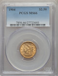 Liberty Quarter Eagles: , 1904 $2 1/2 MS66 PCGS. PCGS Population: (224/69). NGC Census: (200/113). MS66. Mintage 160,700. ...