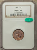 Indian Cents, 1908-S 1C MS65 Brown NGC. CAC. Mintage 1,115,000....