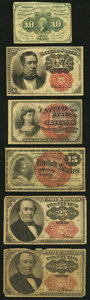 Fractional Currency:First Issue, Fr. 1242 10¢ First Issue;. Fr. 1261 10¢ Fourth Issue;. Fr. 1265 10¢ Fifth Issue;. Fr. 1267 15¢ Fourth Issue;. ... (Total: 6 notes)
