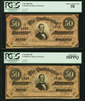 Confederate Notes:1864 Issues, T66 $50 1864 PF-8 Cr. 499 Two Examples PCGS Choice About New 58; About New 50PPQ.. ... (Total: 2 notes)