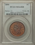 Large Cents, 1850 1C MS64 Red and Brown PCGS. PCGS Population: (176/127). NGC Census: (92/107). CDN: $550 Whsle. Bid for problem-free NG...