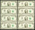 Fr. 1935-I $2 1976 Federal Reserve Notes. Uncut Sheet of Four. Two Examples. Choice Crisp Uncirculated