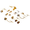Estate Jewelry:Other, Diamond, Star Sapphire, Synthetic Sapphire, Cultured Pearl, Enamel, Gold, Yellow Metal, White Metal Tie Tacks. ... (Total: 13 Items)