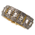 Estate Jewelry:Bracelets, Colored Diamond, Diamond, Silver-Topped Gold Bracelet . ...