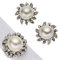 Estate Jewelry:Suites, Cultured Pearl, Diamond, White Gold Jewelry Suite. ... (Total: 2Items)