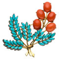 Estate Jewelry:Brooches - Pins, Coral, Turquoise, Gold Brooch. ...