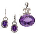 Estate Jewelry:Suites, Amethyst, Diamond, White Gold Suite. ... (Total: 2 Items)