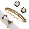 Estate Jewelry:Lots, Sapphire, Diamond, Cultured Pearl, Gold Jewelry . ... (Total: 4 Items)