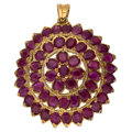 Estate Jewelry:Brooches - Pins, Ruby, Gold Pendant-Brooch. ...
