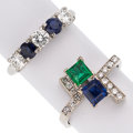 Estate Jewelry:Boxes, Diamond, Sapphire, Emerald, Platinum, White Gold Rings. ... (Total:2 Items)