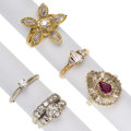 Estate Jewelry:Rings, Diamond, Synthetic Ruby, Gold Rings. ... (Total: 5 Items)