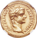 Ancients:Roman Imperial, Ancients: Tiberius (AD 14-37). AV aureus (20mm, 7.61 gm, 3h). NGC Choice XF 4/5 - 4/5....