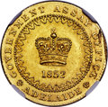 """Australia:South Australia, Australia: South Australia. British Colony - Victoria gold""""Adelaide"""" Pound 1852 MS63 NGC,..."""