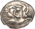 Ancients:Greek, Ancients: LYDIAN KINGDOM. Croesus or later (after ca. 561 BC). AR half stater or siglos (15mm, 5.42 gm). NGC Choice XF ★ 5/5 - 5/5....