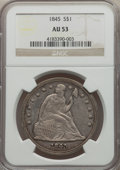 Seated Dollars: , 1845 $1 AU53 NGC. NGC Census: (26/85). PCGS Population: (34/71). CDN: $1,480 Whsle. Bid for problem-free NGC/PCGS AU53. Min...
