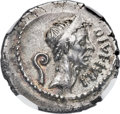 Ancients:Roman Republic, Ancients: Divus Julius Caesar (died 44 BC). AR denarius (20mm, 3.50 gm, 2h). NGC AU 4/5 - 5/5....