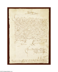 """King Ferdinand II and Queen Isabella I 1492 Document Signed """"Yo el Rey"""" (the King) and """"Yo la Reyna""""..."""