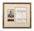 Autographs:Non-American, Queen Isabella I of Spain Framed Document Signed in 1500 withPortrait...