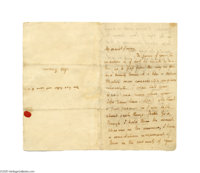 Monumentally Important Love Letter by the Illustrious Romantic Poet John Keats John Keats, English poet (1795-1821). Aut...