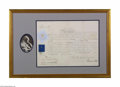 Autographs:Non-American, Victoria, Queen of England, Framed Document Signed and Portrait...
